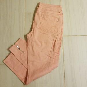 Peach coral skinny jeans